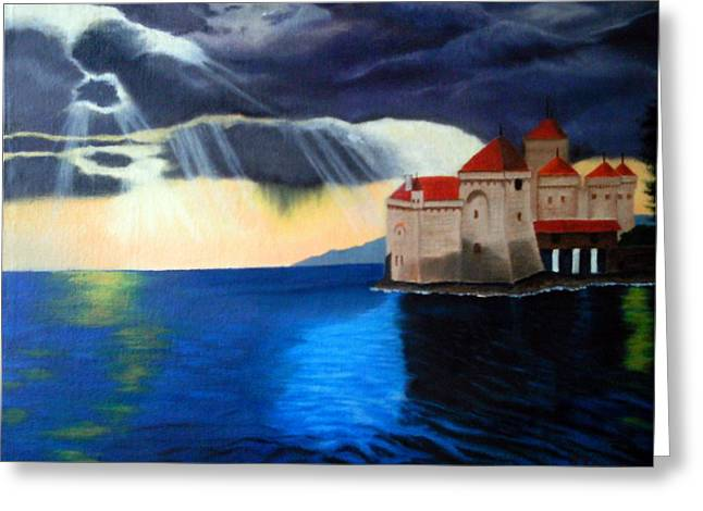 Chillon Greeting Cards - Chateau de Chillon Greeting Card by John Davis