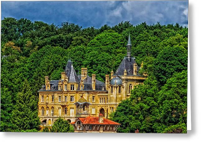 Castle On Mountain Greeting Cards - Chateau de Pierrefonds - France Greeting Card by Mountain Dreams