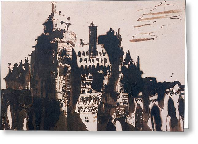 Shadows Drawings Greeting Cards - Chateau fortified by two Bridges Greeting Card by Victor Hugo
