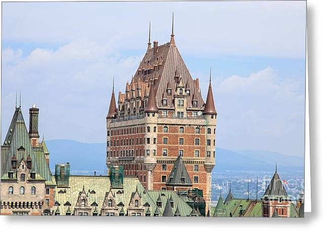 Language Greeting Cards - Chateau Frontenac Quebec City Canada Greeting Card by Edward Fielding