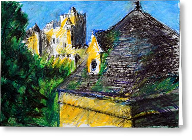 Historical Buildings Pastels Greeting Cards - Chateau in Dordogne France Greeting Card by Paul Sutcliffe