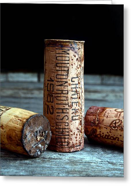Cocktails Greeting Cards - Chateau Mouton Rothschild Cork Greeting Card by Jon Neidert