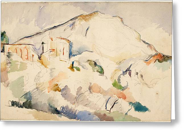 Victoire Paintings Greeting Cards - Chateau Noir and Mont Sainte Victoire  Greeting Card by Paul Cezanne