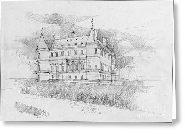 European work Drawings Greeting Cards - chateau of Rambouillet Greeting Card by Peut Etre