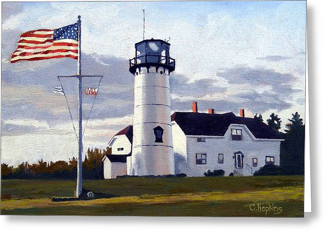 Sand Dunes Paintings Greeting Cards - Chatham Lighthouse Cape Cod Massachusetts Greeting Card by Christine Hopkins