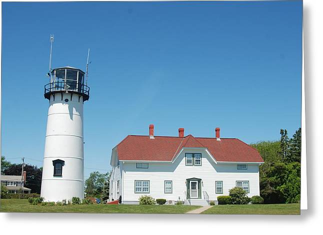 Chatham Greeting Cards - Chatham Lighthouse Greeting Card by Pamela Schreckengost