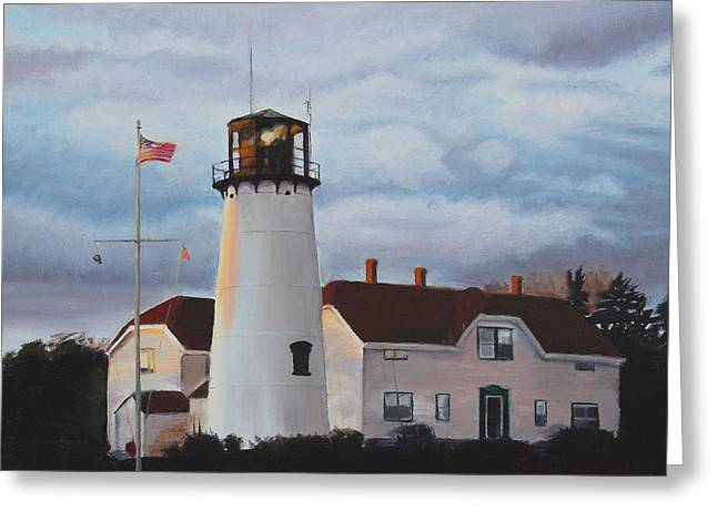 Storm Clouds Cape Cod Greeting Cards - Chatham Lighthouse Greeting Card by Sue Birkenshaw