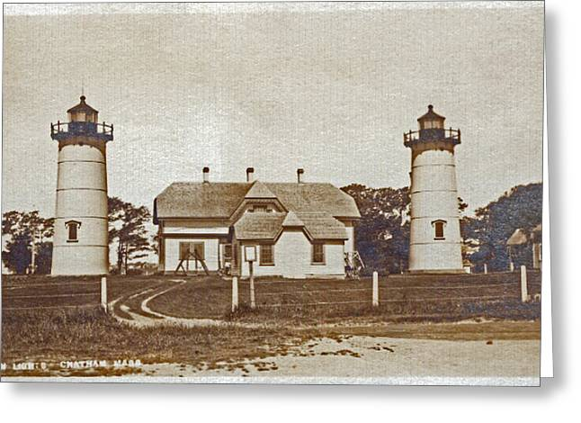 Chatham Greeting Cards - Chatham Twin Lights 1908-18 Greeting Card by Skip Willits