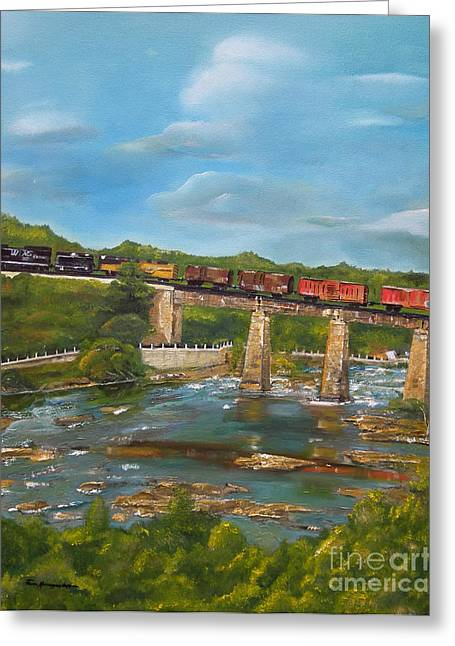 Train On Bridge Greeting Cards - Chattahoochee Choo Choo -  Train on Trestle - Columbus GA Greeting Card by Jan Dappen