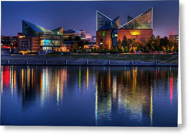 Evening Lights Greeting Cards - Chattanooga Aquarium Greeting Card by Mountain Dreams