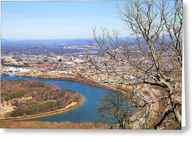 Tennessee River Greeting Cards - Chattanooga View Greeting Card by Donna Kennedy