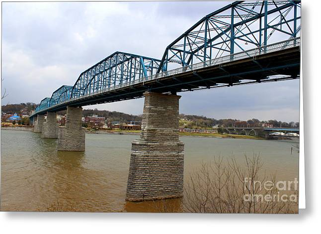 Tennessee Historic Site Photographs Greeting Cards - Chattanooga Longest Walking Bridge Greeting Card by Kathy  White