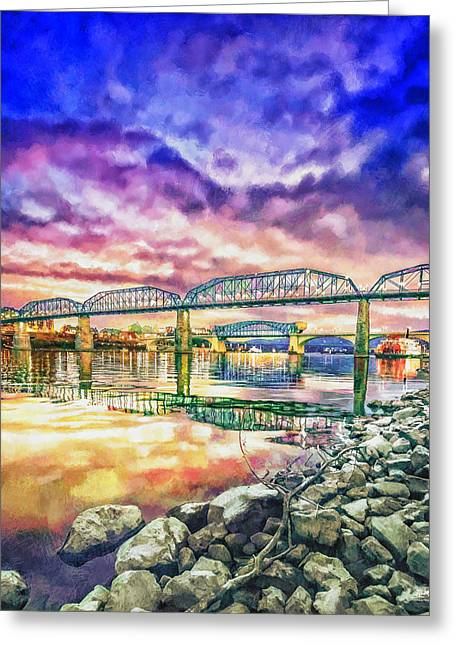 Tennessee River Mixed Media Greeting Cards - Chattanooga Reflection 1 Greeting Card by Steven Llorca