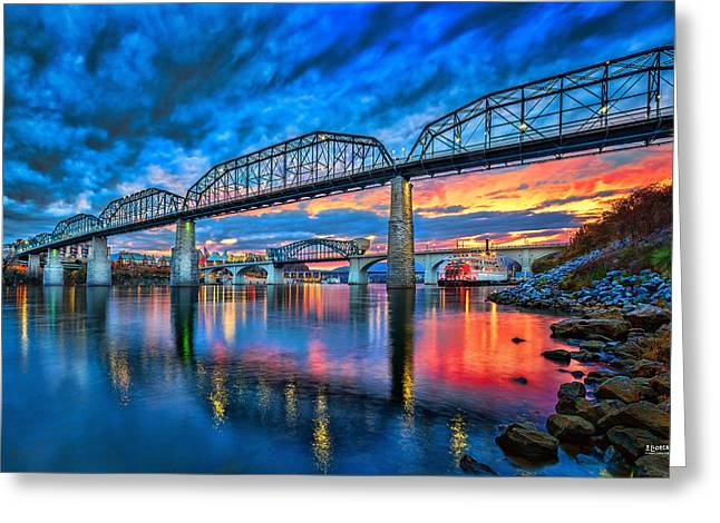 River. Clouds Greeting Cards - Chattanooga Sunset 3 Greeting Card by Steven Llorca