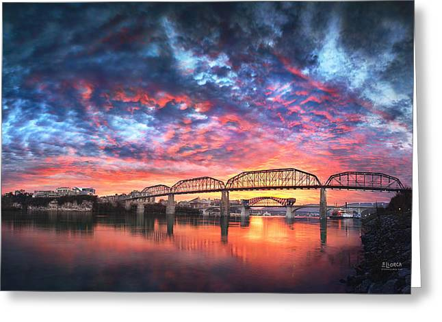 Best Sellers -  - Tennessee River Greeting Cards - Chattanooga Sunset 4 Greeting Card by Steven Llorca