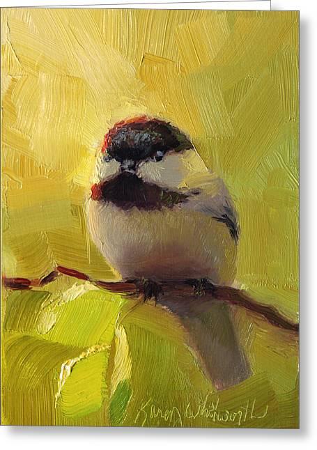 Chatty Greeting Cards - Chatty Chickadee - Cheeky Bird Greeting Card by Karen Whitworth