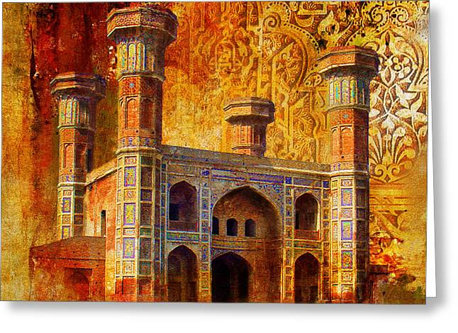 Akbar Shahjahan Greeting Cards - Chauburji Gate Greeting Card by Catf