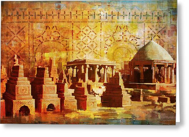 Pakistan Greeting Cards - Chaukhandi tombs Greeting Card by Catf
