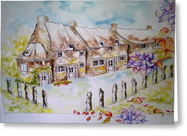Thatch Drawings Greeting Cards - Chaumieres aux fleurs Greeting Card by Anne Dalton