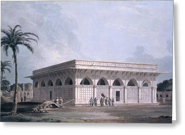 Points Drawings Greeting Cards - Chaunsath Khamba, Nizamuddin, New Delhi Greeting Card by Thomas & William Daniell