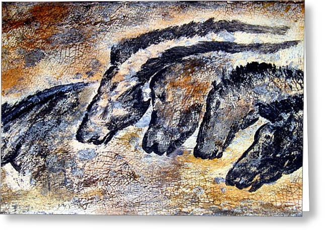 Wall Art Paintings Greeting Cards - Chauvet Cave Auroch and Horses Greeting Card by Beverly  Koski
