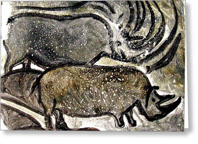 Hand Pulled Print Greeting Cards - Chauvet Cave Rhinoceroses Greeting Card by Beverly  Koski