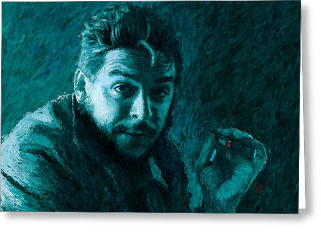 Marxism Greeting Cards - Che Guevara Blue-Green Greeting Card by Shubnum Gill