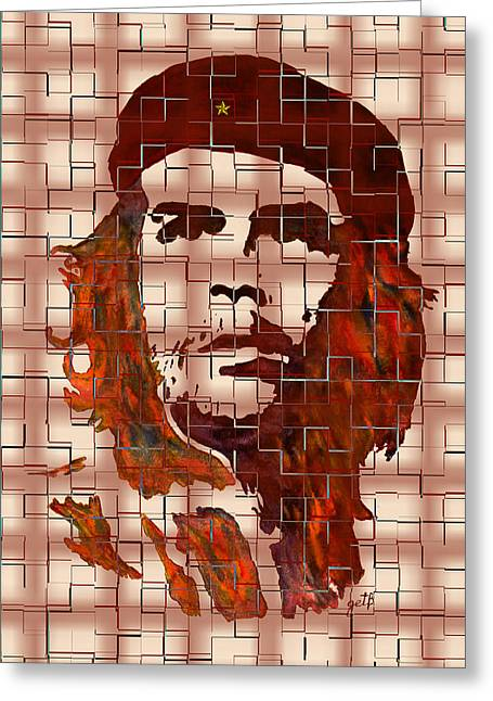 Che Guevara Greeting Cards - Che Guevara digital from watercolor painting Greeting Card by Georgeta Blanaru