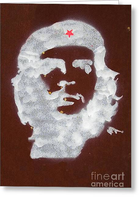 Che Greeting Cards - Che Guevara graffiti on rusty plate Greeting Card by Jose Elias - Sofia Pereira