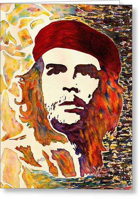Che Greeting Cards - Che Guevara original watercolor Greeting Card by Georgeta Blanaru
