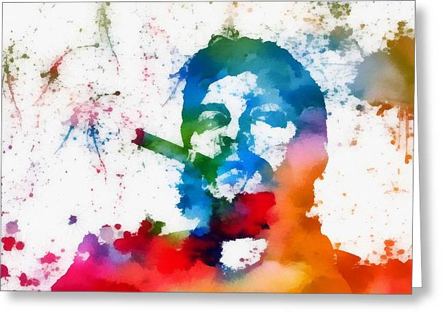 Che Greeting Cards - Che Guevara Paint Splatter Greeting Card by Dan Sproul