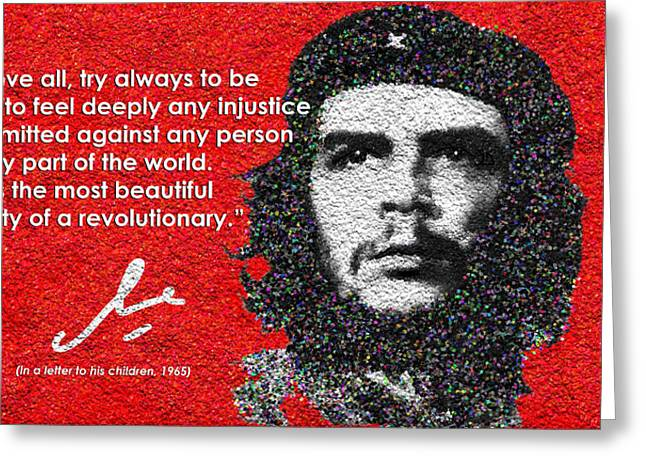 Injustices Greeting Cards - Che Guevara to His Children Greeting Card by Faye Giblin