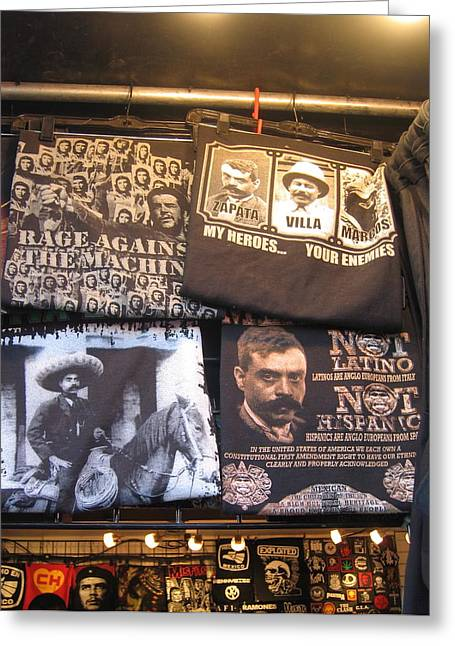 Emiliano Greeting Cards - Che Guevera Emiliano Zapata and Francisco Villa  tapestries Casa Grande Arizona 2005 Greeting Card by David Lee Guss