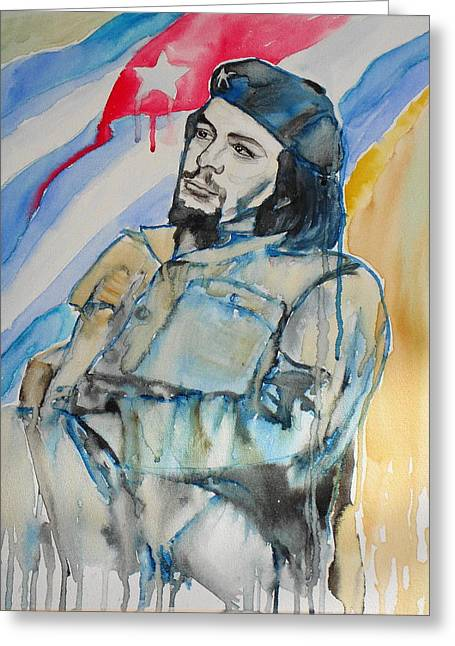 Rum Mixed Media Greeting Cards -  Ernesto Che Guevara Watercolor Greeting Card by K Martel