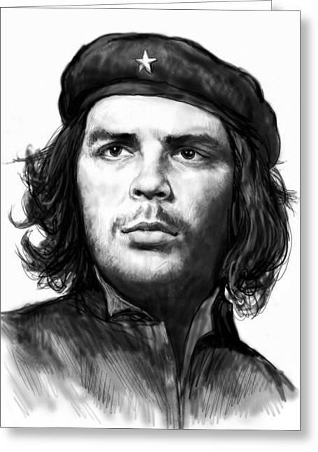 Che Greeting Cards - Che Quevara art drawing sketch portrait  Greeting Card by Kim Wang