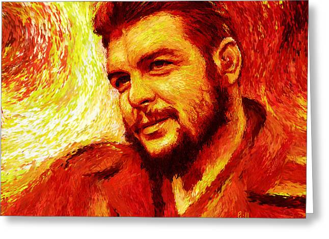 Marxism Greeting Cards - Che Red-Yellow Greeting Card by Shubnum Gill