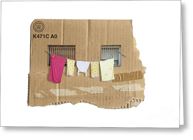 Cardboard Digital Art Greeting Cards - Cheap Rent Greeting Card by Kitty Bitty
