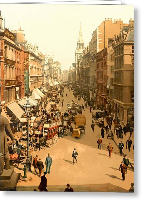 19th Century America Digital Art Greeting Cards - Cheapside London - England Greeting Card by Don Kuing