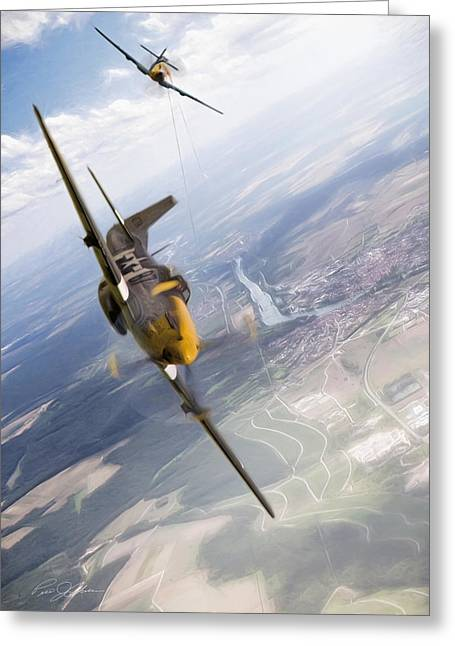 Vintage Air Planes Greeting Cards - Check Six For Frankie Greeting Card by Peter Chilelli