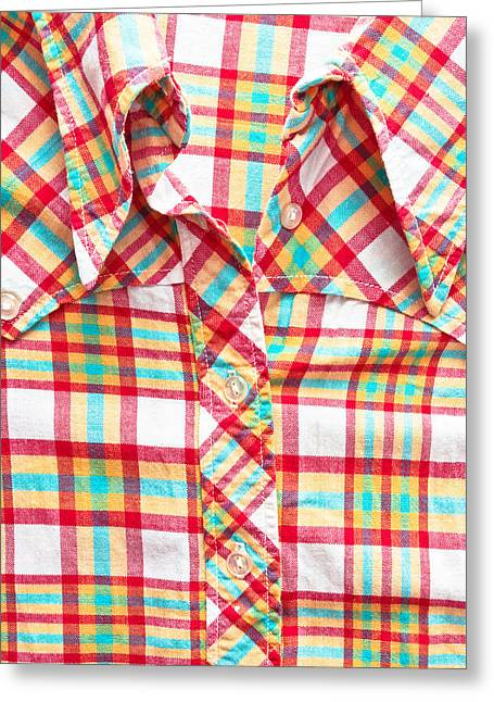 Apparel Greeting Cards - Checked shirt Greeting Card by Tom Gowanlock