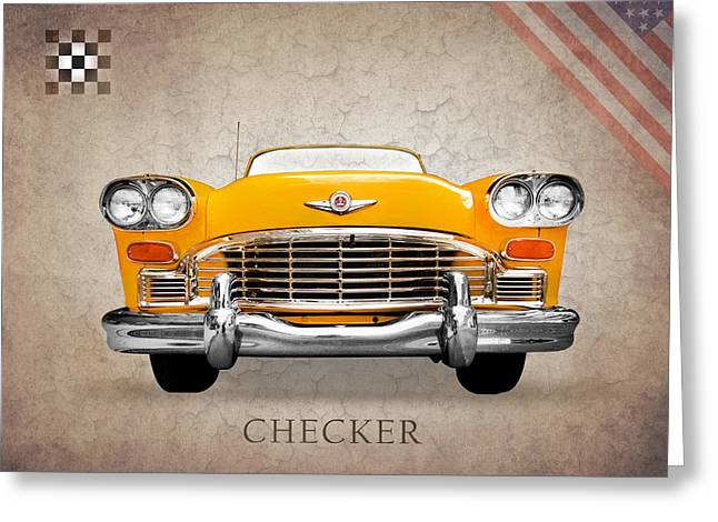 Checker Greeting Cards - Checker Cab Greeting Card by Mark Rogan