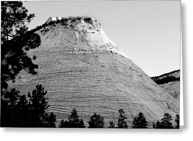 Slickrock Greeting Cards - Checkerboard Mesa Black and White Greeting Card by Jemmy Archer