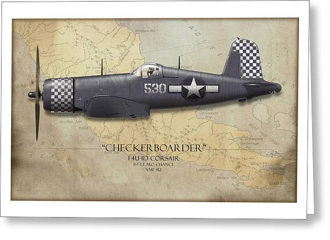 Aircraft Carrier Greeting Cards - Checkerboarder F4U Corsair - Map Background Greeting Card by Craig Tinder