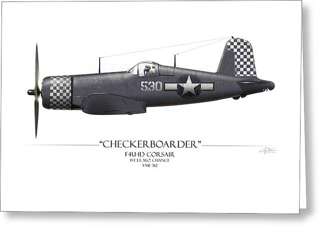 Aircraft Carrier Greeting Cards - Checkerboarder F4U Corsair - White Background Greeting Card by Craig Tinder