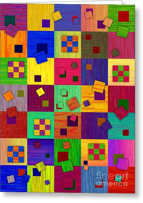 Colored Pencil Abstract Greeting Cards - Checkered Greeting Card by David K Small