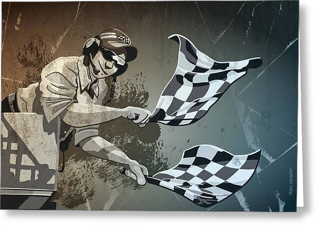 Motor Greeting Cards - Checkered Flag Grunge Monochrome Greeting Card by Frank Ramspott