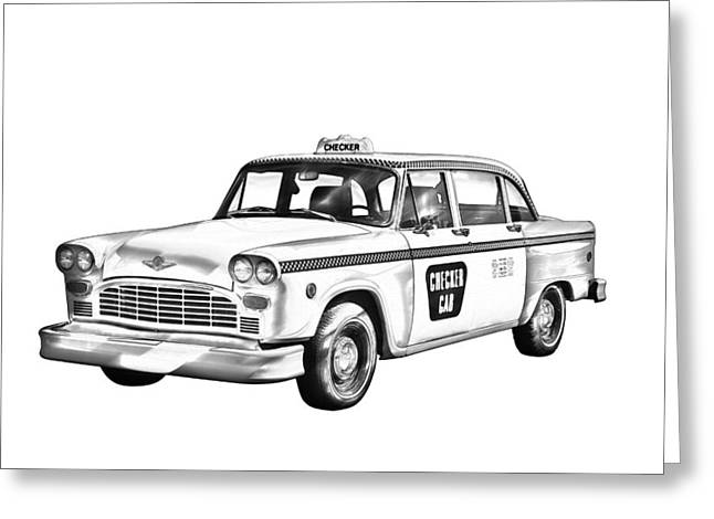 White Background Digital Art Greeting Cards - Checkered Taxi Cab Illustrastion Greeting Card by Keith Webber Jr