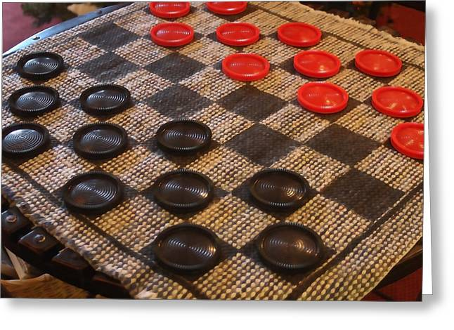 Game Pieces Greeting Cards - Checkers Greeting Card by Art Block Collections