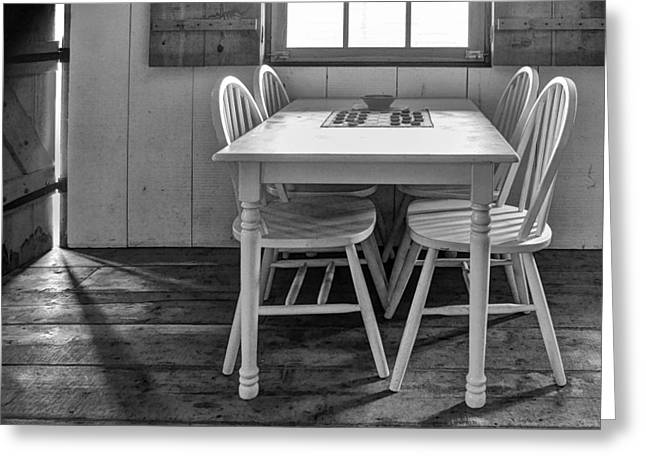 Table And Chairs Photographs Greeting Cards - Checkers - bw Greeting Card by Nikolyn McDonald