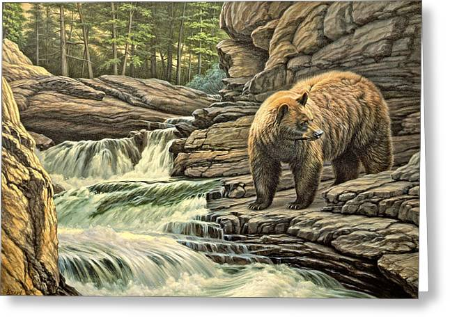 Yellowstone Greeting Cards - Checking Downstream       Greeting Card by Paul Krapf